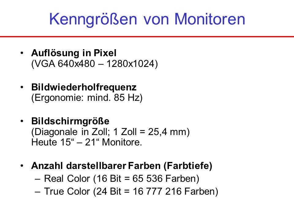 Kenngrößen von Monitoren Auflösung in Pixel (VGA 640x480 – 1280x1024) Bildwiederholfrequenz (Ergonomie: mind. 85 Hz) Bildschirmgröße (Diagonale in Zol