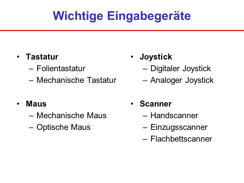 Wichtige Eingabegeräte Tastatur –Folientastatur –Mechanische Tastatur Maus –Mechanische Maus –Optische Maus Joystick –Digitaler Joystick –Analoger Joy