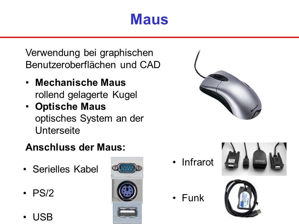Maus Verwendung bei graphischen Benutzeroberflächen und CAD Mechanische Maus rollend gelagerte Kugel Optische Maus optisches System an der Unterseite