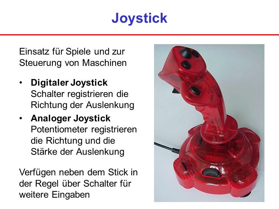 Joystick Digitaler Joystick Schalter registrieren die Richtung der Auslenkung Analoger Joystick Potentiometer registrieren die Richtung und die Stärke