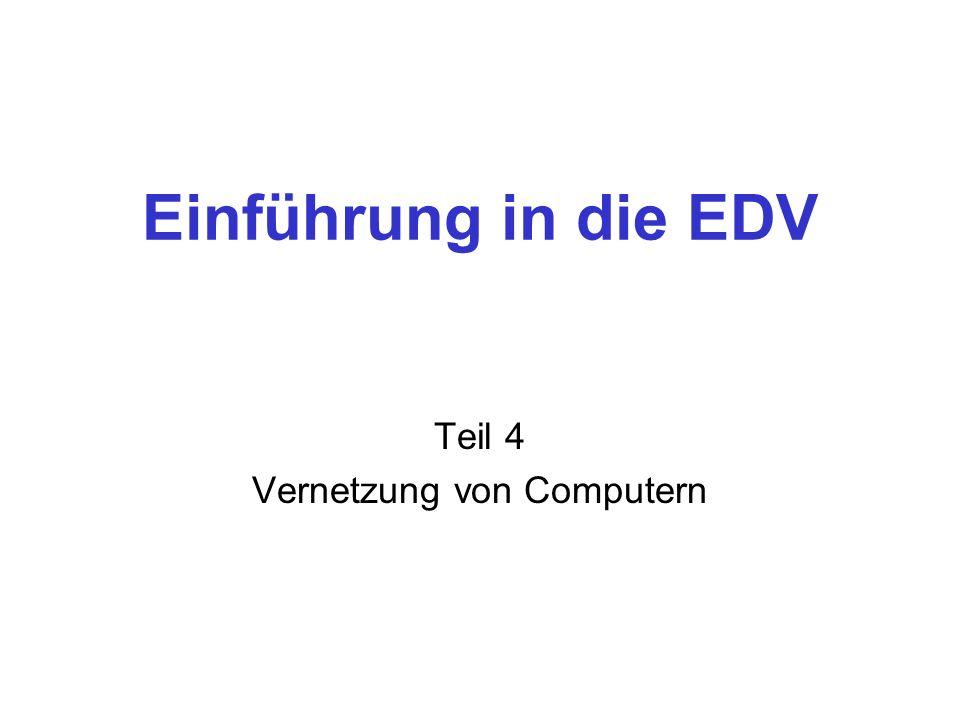 Einführung in die EDV Teil 4 Vernetzung von Computern
