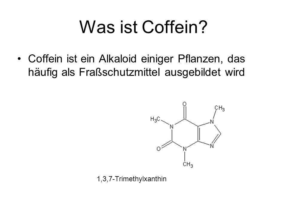 Was ist Coffein? Coffein ist ein Alkaloid einiger Pflanzen, das häufig als Fraßschutzmittel ausgebildet wird 1,3,7-Trimethylxanthin