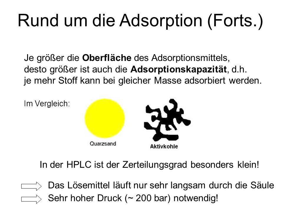 Rund um die Adsorption (Forts.) Je größer die Oberfläche des Adsorptionsmittels, desto größer ist auch die Adsorptionskapazität, d.h. je mehr Stoff ka