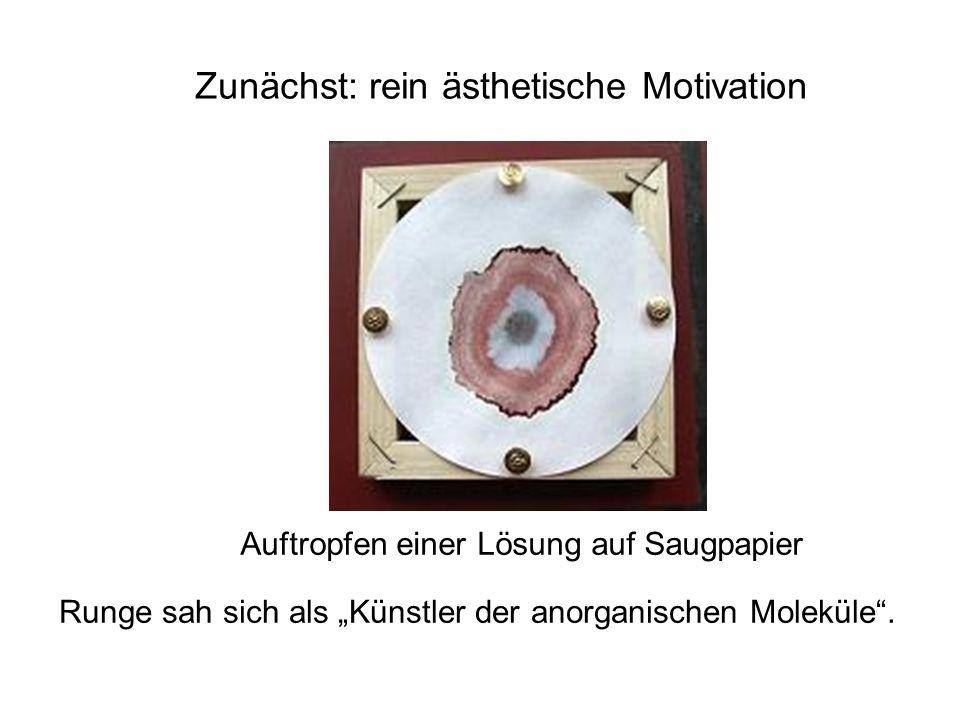 Zunächst: rein ästhetische Motivation Runge sah sich als Künstler der anorganischen Moleküle. Auftropfen einer Lösung auf Saugpapier