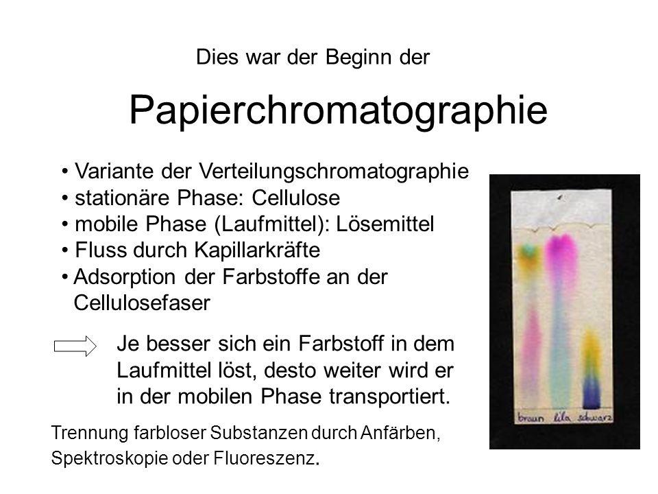Dies war der Beginn der Papierchromatographie Variante der Verteilungschromatographie stationäre Phase: Cellulose mobile Phase (Laufmittel): Lösemitte