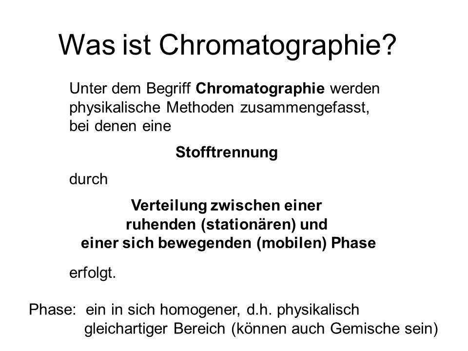 Was ist Chromatographie? Unter dem Begriff Chromatographie werden physikalische Methoden zusammengefasst, bei denen eine Stofftrennung durch Verteilun