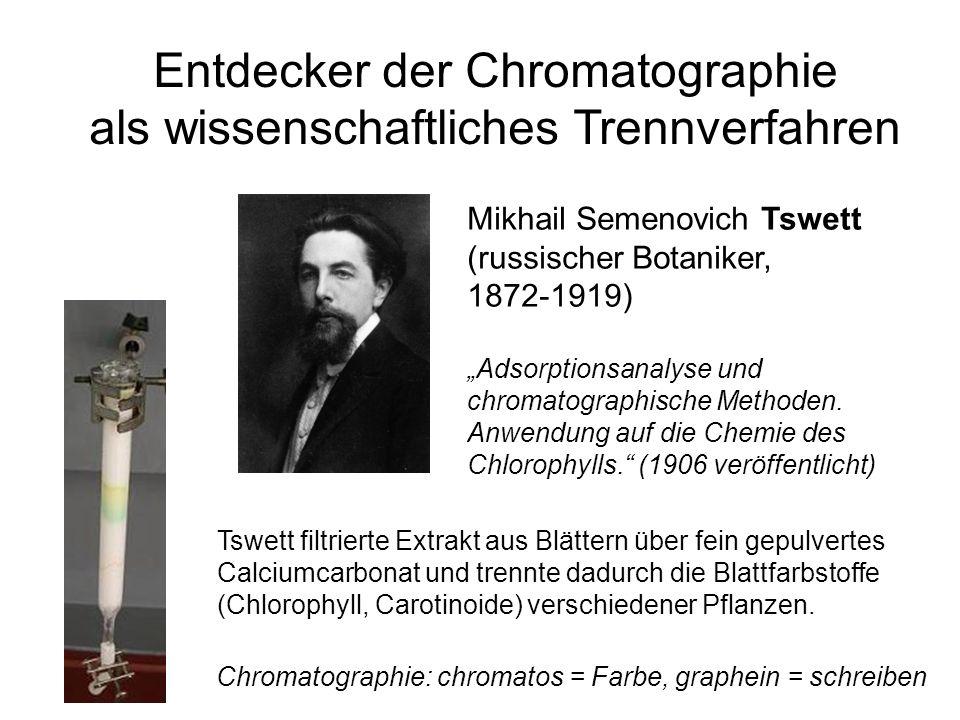 Entdecker der Chromatographie als wissenschaftliches Trennverfahren Mikhail Semenovich Tswett (russischer Botaniker, 1872-1919) Adsorptionsanalyse und