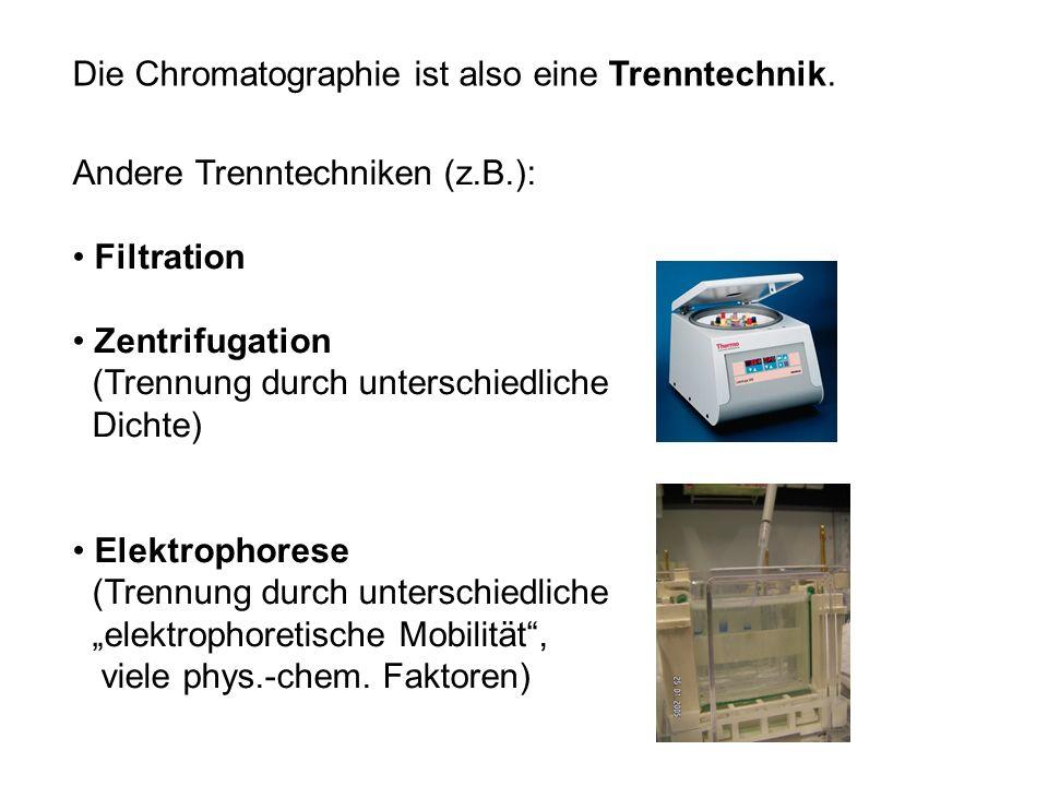 Die Chromatographie ist also eine Trenntechnik. Andere Trenntechniken (z.B.): Filtration Zentrifugation (Trennung durch unterschiedliche Dichte) Elekt