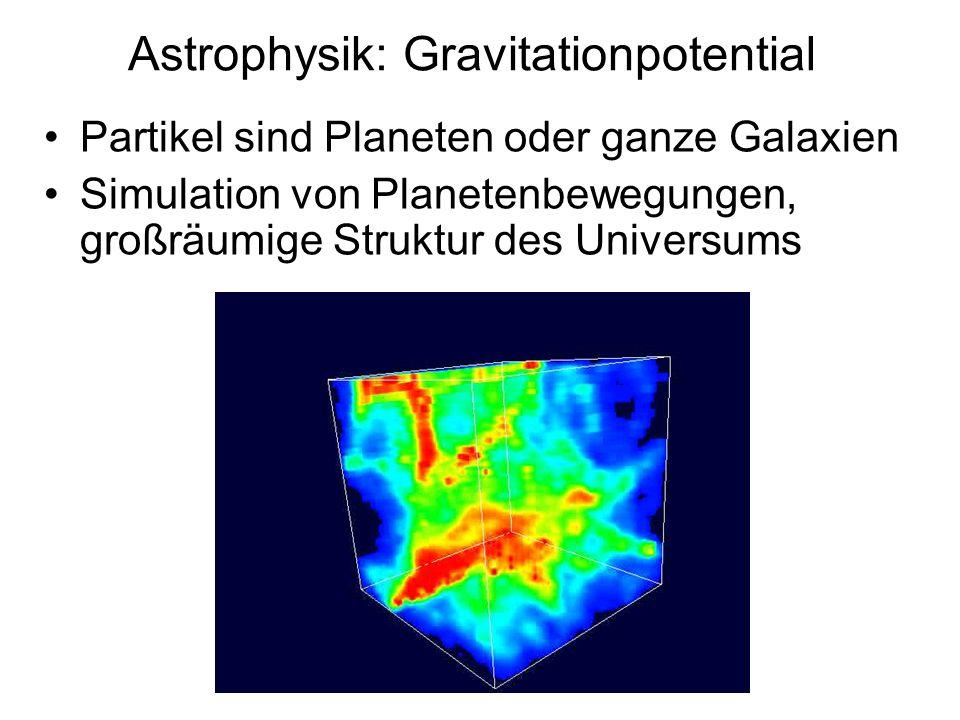 Astrophysik: Gravitationpotential Partikel sind Planeten oder ganze Galaxien Simulation von Planetenbewegungen, großräumige Struktur des Universums