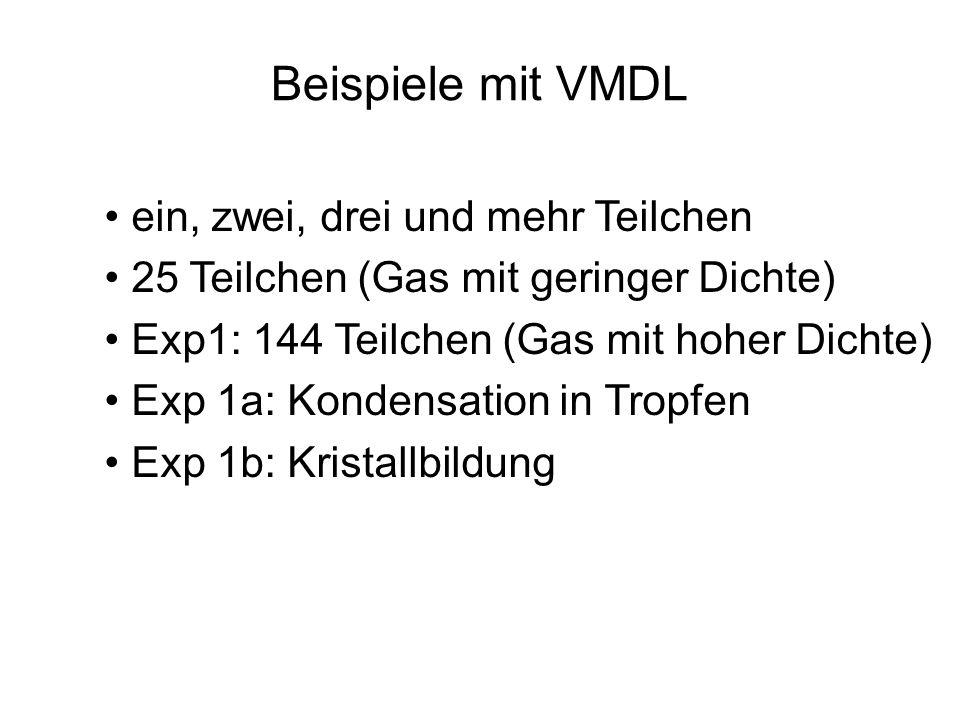 Beispiele mit VMDL ein, zwei, drei und mehr Teilchen 25 Teilchen (Gas mit geringer Dichte) Exp1: 144 Teilchen (Gas mit hoher Dichte) Exp 1a: Kondensat
