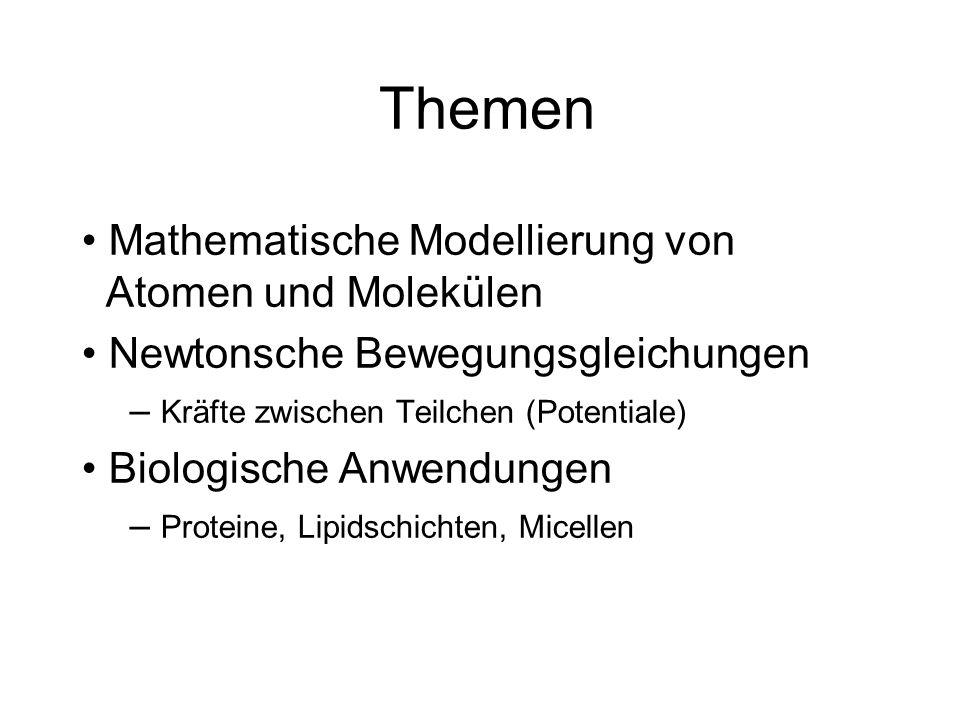 Themen Mathematische Modellierung von Atomen und Molekülen Newtonsche Bewegungsgleichungen – Kräfte zwischen Teilchen (Potentiale) Biologische Anwendu