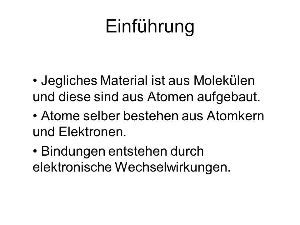 Einführung Jegliches Material ist aus Molekülen und diese sind aus Atomen aufgebaut. Atome selber bestehen aus Atomkern und Elektronen. Bindungen ents