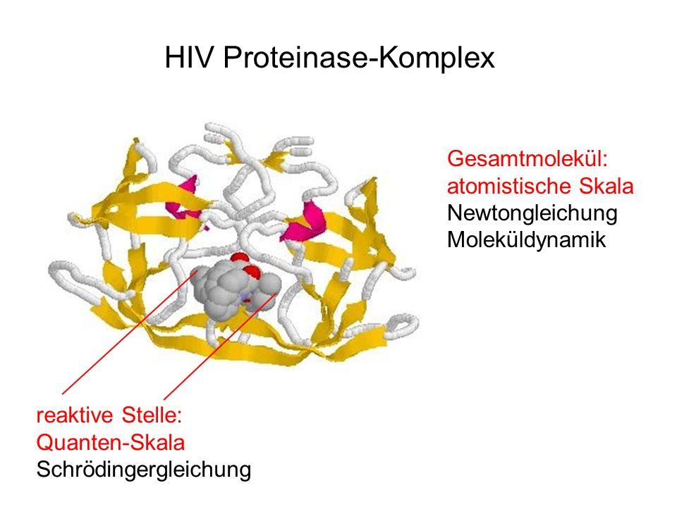Gesamtmolekül: atomistische Skala Newtongleichung Moleküldynamik reaktive Stelle: Quanten-Skala Schrödingergleichung HIV Proteinase-Komplex