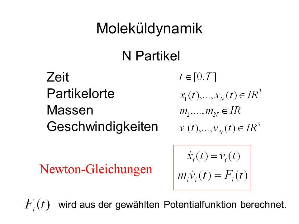 Moleküldynamik Newton-Gleichungen Partikelorte Massen Geschwindigkeiten Zeit N Partikel wird aus der gewählten Potentialfunktion berechnet.