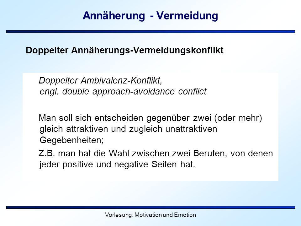 Vorlesung: Motivation und Emotion Annäherung - Vermeidung Doppelter Annäherungs-Vermeidungskonflikt Doppelter Ambivalenz-Konflikt, engl. double approa