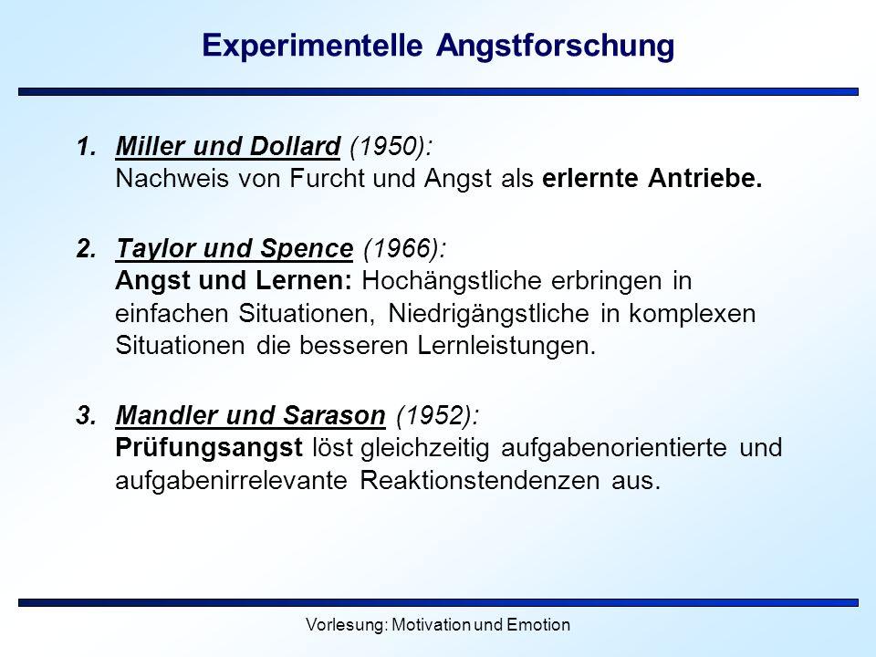 Vorlesung: Motivation und Emotion Experimentelle Angstforschung 1.Miller und Dollard (1950): Nachweis von Furcht und Angst als erlernte Antriebe. 2.Ta
