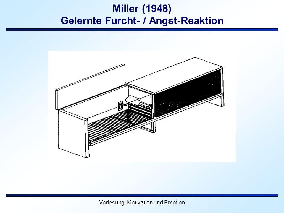 Vorlesung: Motivation und Emotion Miller (1948) Gelernte Furcht- / Angst-Reaktion