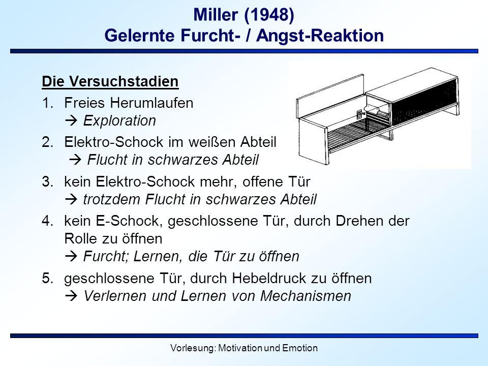 Vorlesung: Motivation und Emotion Miller (1948) Gelernte Furcht- / Angst-Reaktion Die Versuchstadien 1.Freies Herumlaufen Exploration 2.Elektro-Schock