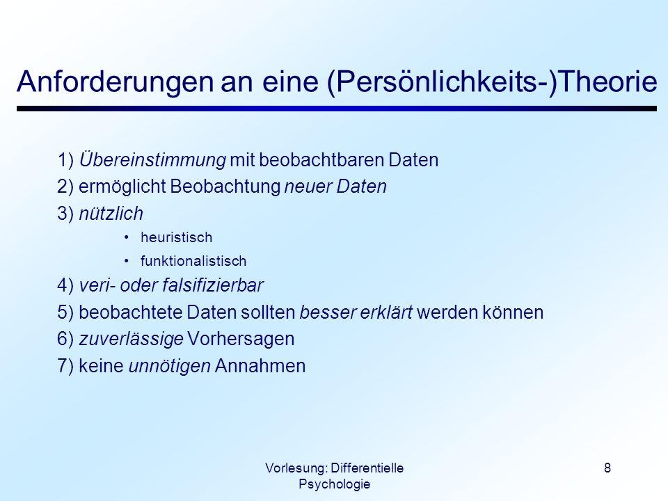 Vorlesung: Differentielle Psychologie 8 Anforderungen an eine (Persönlichkeits-)Theorie 1) Übereinstimmung mit beobachtbaren Daten 2) ermöglicht Beoba