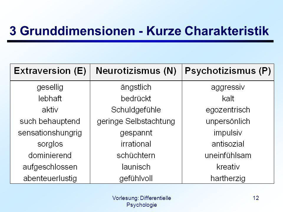 Vorlesung: Differentielle Psychologie 12 3 Grunddimensionen - Kurze Charakteristik