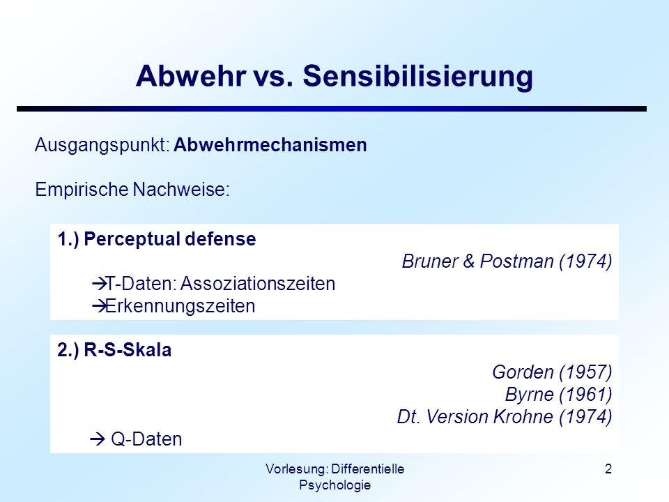 Vorlesung: Differentielle Psychologie 3 Abwehr vs.
