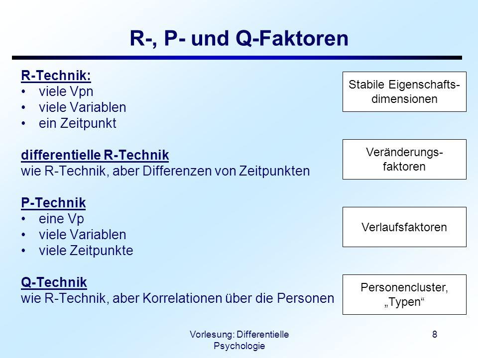 Vorlesung: Differentielle Psychologie 9 Stabile vs.