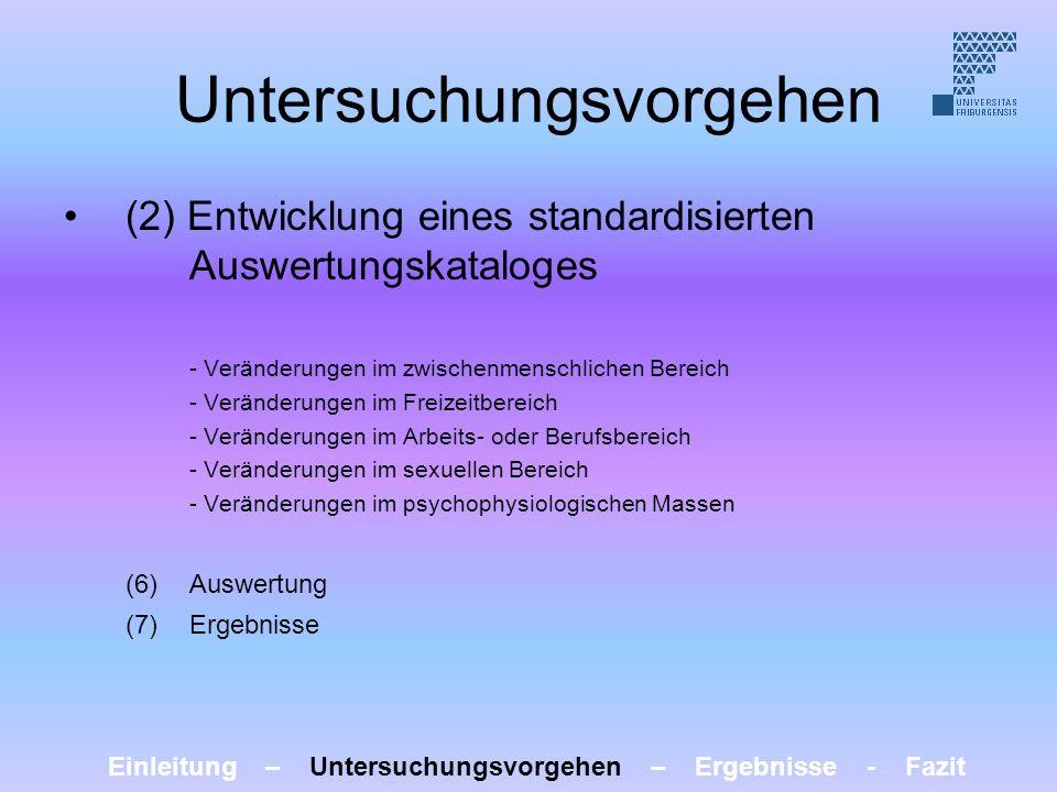 Untersuchungsvorgehen (2) Entwicklung eines standardisierten Auswertungskataloges - Veränderungen im zwischenmenschlichen Bereich - Veränderungen im F