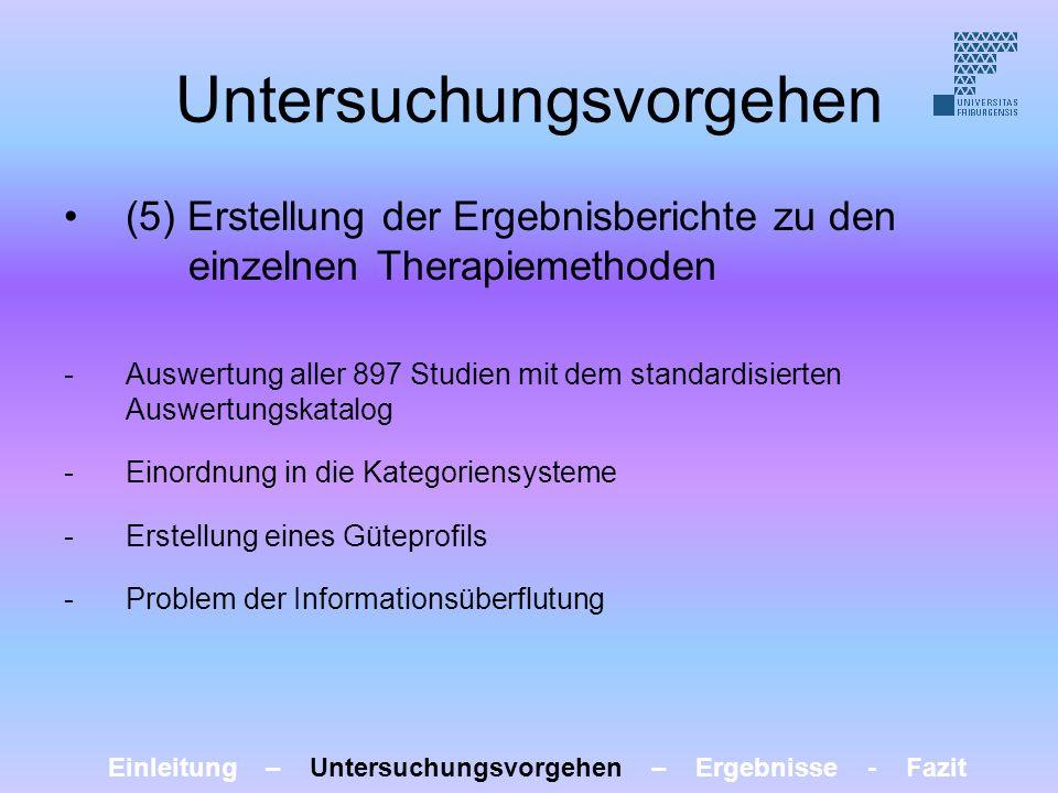Untersuchungsvorgehen (5) Erstellung der Ergebnisberichte zu den einzelnen Therapiemethoden -Auswertung aller 897 Studien mit dem standardisierten Aus