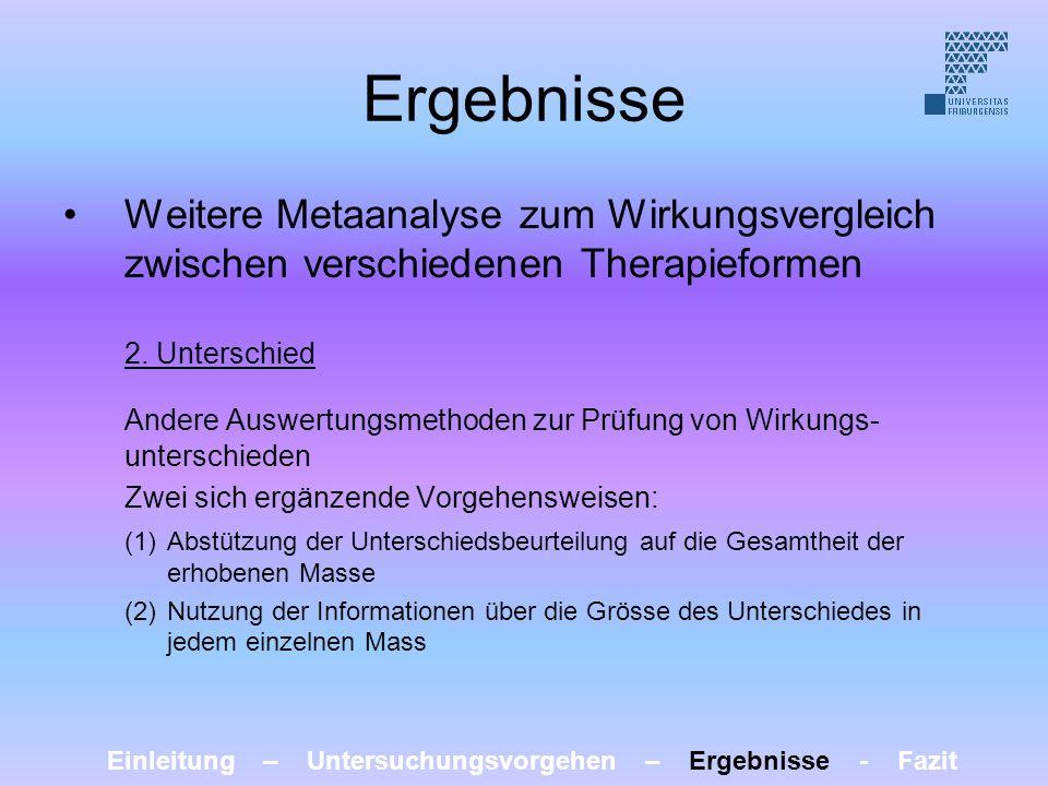 Ergebnisse Weitere Metaanalyse zum Wirkungsvergleich zwischen verschiedenen Therapieformen 2. Unterschied Andere Auswertungsmethoden zur Prüfung von W