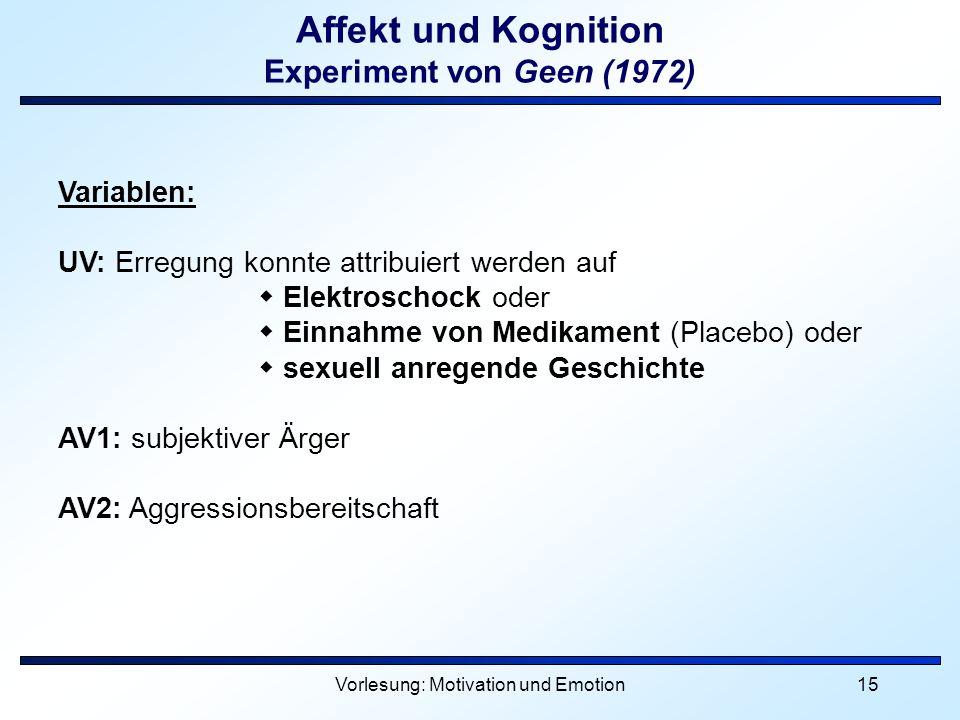Vorlesung: Motivation und Emotion15 Affekt und Kognition Experiment von Geen (1972) Variablen: UV: Erregung konnte attribuiert werden auf Elektroschoc