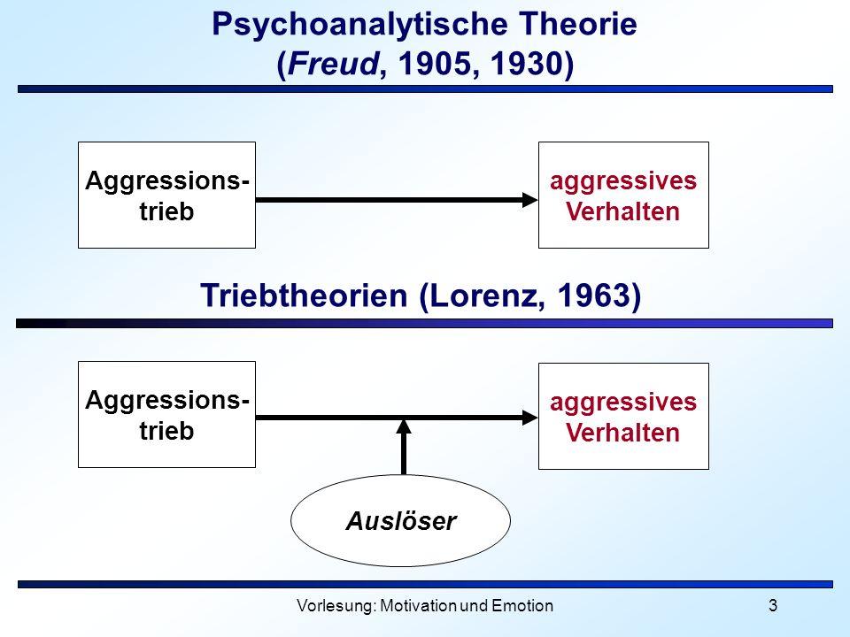 Vorlesung: Motivation und Emotion3 Psychoanalytische Theorie (Freud, 1905, 1930) aggressives Verhalten Triebtheorien (Lorenz, 1963) Aggressions- trieb