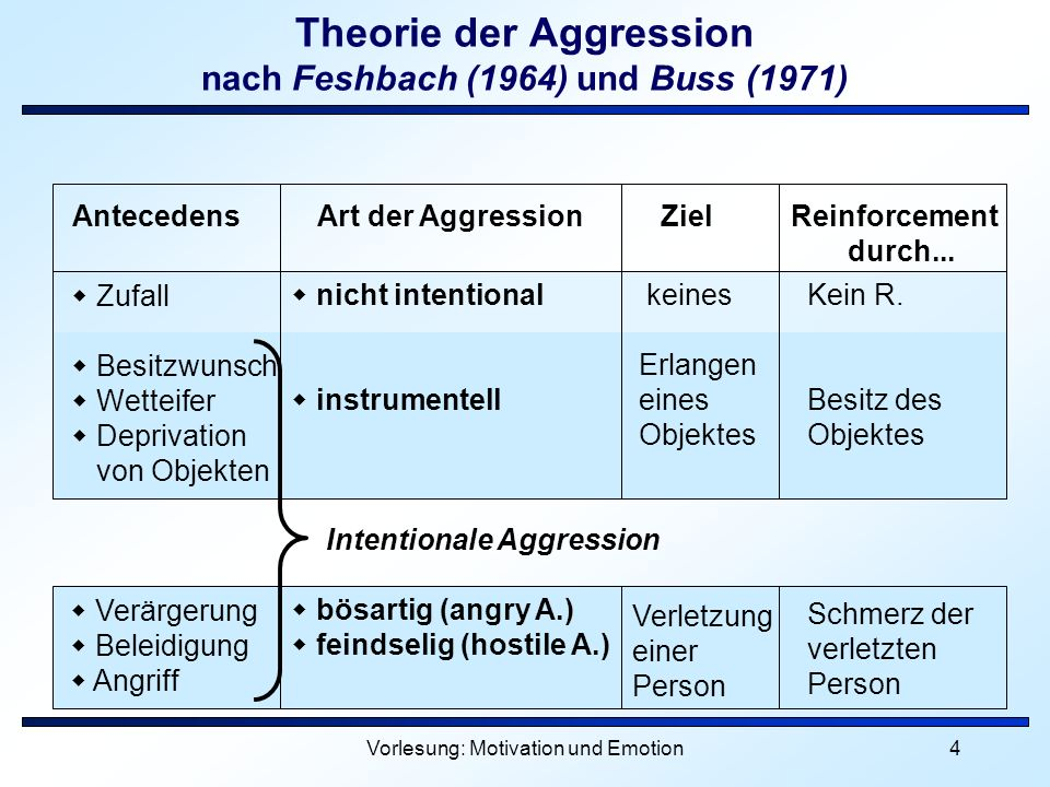 Vorlesung: Motivation und Emotion4 Theorie der Aggression nach Feshbach (1964) und Buss (1971) Zufall Besitzwunsch Wetteifer Deprivation von Objekten