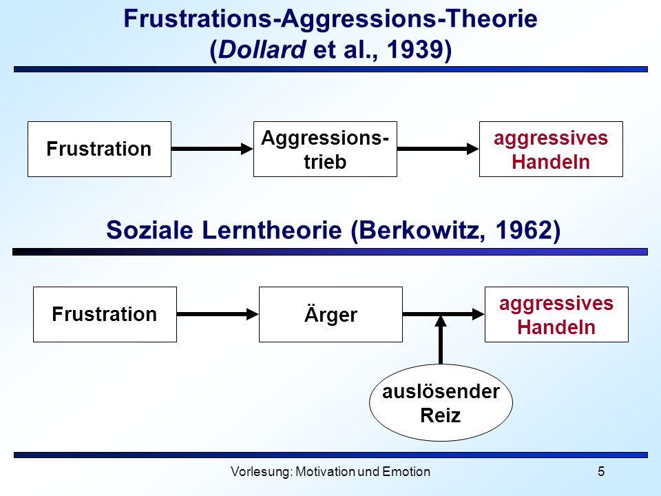 Vorlesung: Motivation und Emotion5 Frustrations-Aggressions-Theorie (Dollard et al., 1939) Soziale Lerntheorie (Berkowitz, 1962) Frustration Aggressio