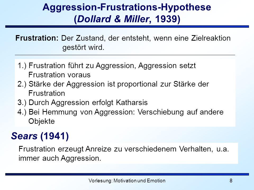 Vorlesung: Motivation und Emotion8 Aggression-Frustrations-Hypothese (Dollard & Miller, 1939) 1.) Frustration führt zu Aggression, Aggression setzt Fr