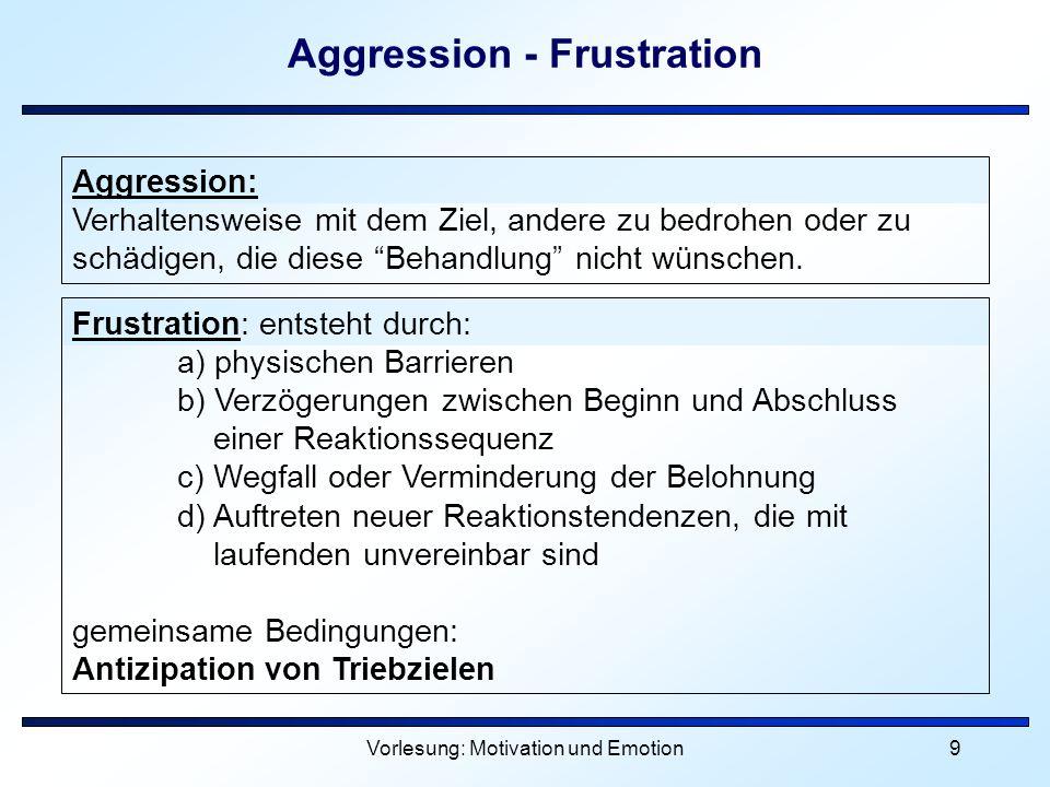 Vorlesung: Motivation und Emotion9 Aggression - Frustration Aggression: Verhaltensweise mit dem Ziel, andere zu bedrohen oder zu schädigen, die diese