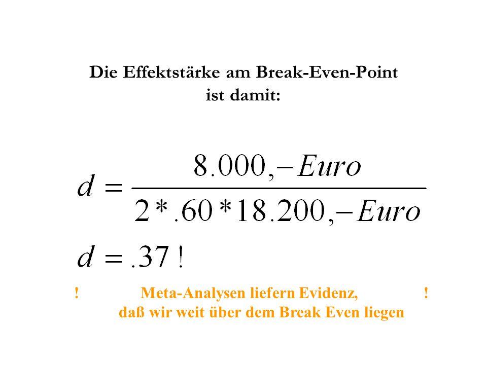 Die Effektstärke am Break-Even-Point ist damit: ! Meta-Analysen liefern Evidenz, ! daß wir weit über dem Break Even liegen