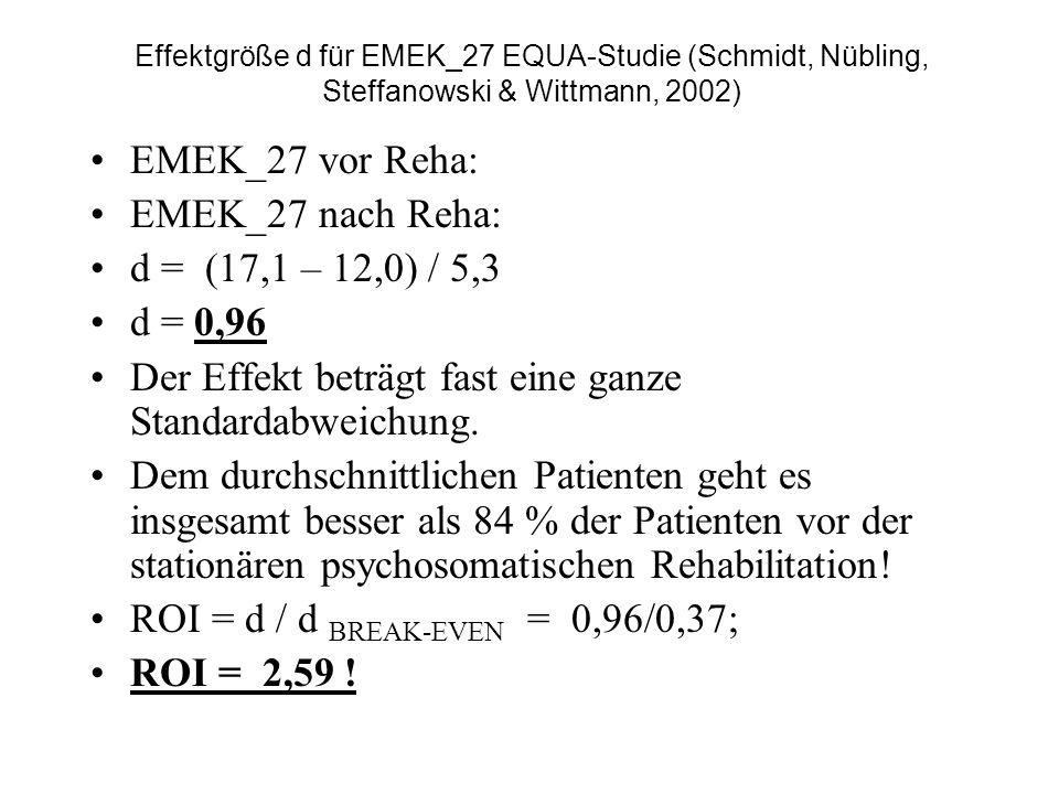 Effektgröße d für EMEK_27 EQUA-Studie (Schmidt, Nübling, Steffanowski & Wittmann, 2002) EMEK_27 vor Reha: EMEK_27 nach Reha: d = (17,1 – 12,0) / 5,3 d