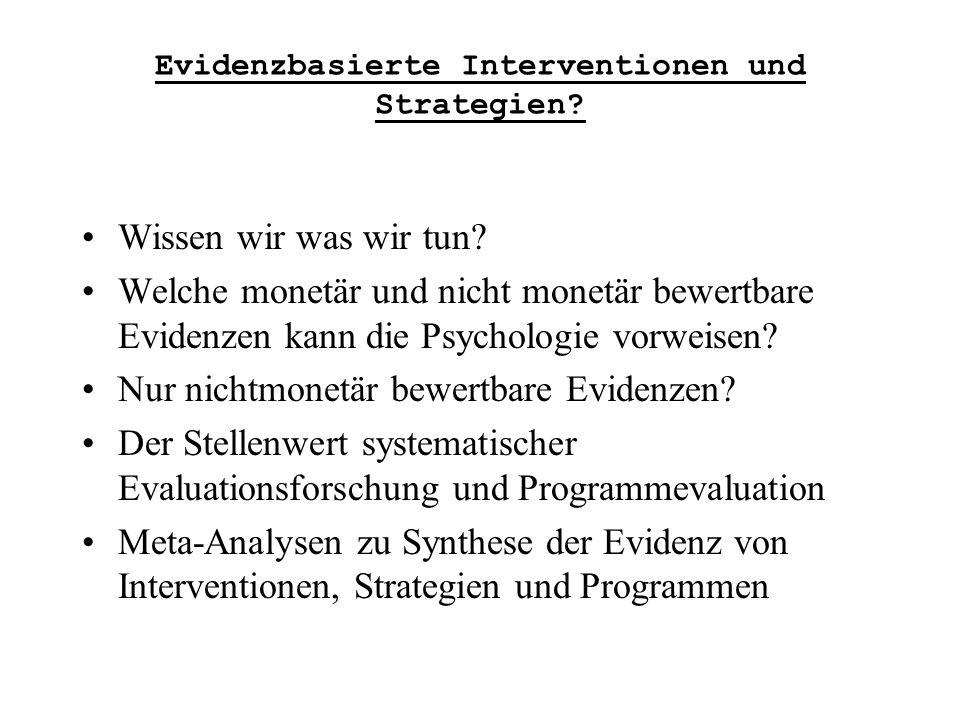 Die Brogden-Cronbach-Gleser Kosten-Nutzen-Analyse von Interventionen, das Dornröschen der Kosten-Nutzen-Analyse: Folgende Kennwerte werden aus der Evaluationsforschung benötigt.