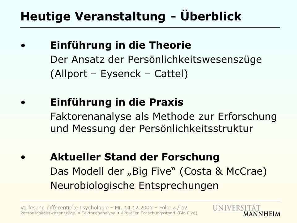 Vorlesung differentielle Psychologie – Mi, 14.12.2005 – Folie 53 / 62 Persönlichkeitswesenszüge Faktorenanalyse Aktueller Forschungsstand (Big Five) Paul T.