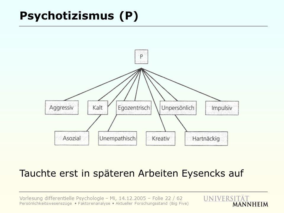 Vorlesung differentielle Psychologie – Mi, 14.12.2005 – Folie 22 / 62 Persönlichkeitswesenszüge Faktorenanalyse Aktueller Forschungsstand (Big Five) P