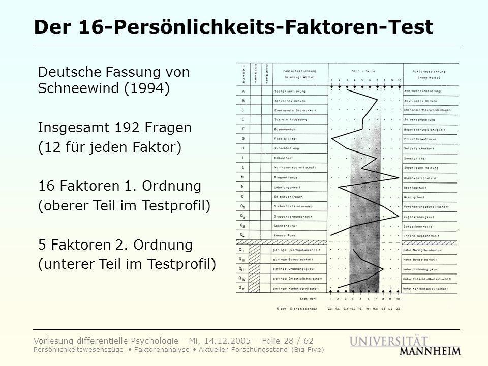Vorlesung differentielle Psychologie – Mi, 14.12.2005 – Folie 28 / 62 Persönlichkeitswesenszüge Faktorenanalyse Aktueller Forschungsstand (Big Five) D