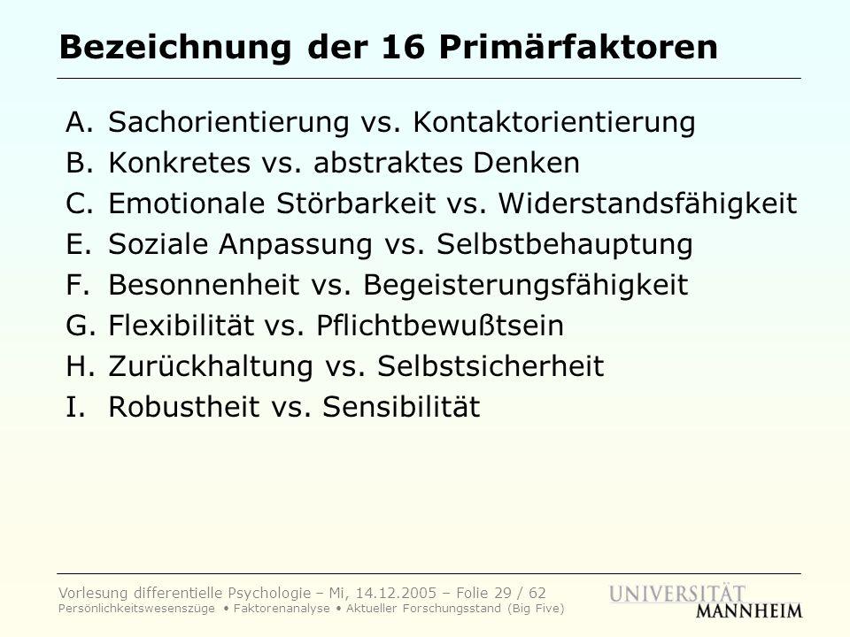 Vorlesung differentielle Psychologie – Mi, 14.12.2005 – Folie 29 / 62 Persönlichkeitswesenszüge Faktorenanalyse Aktueller Forschungsstand (Big Five) B