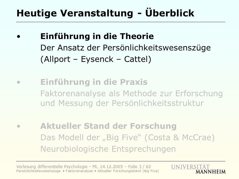 Vorlesung differentielle Psychologie – Mi, 14.12.2005 – Folie 34 / 62 Persönlichkeitswesenszüge Faktorenanalyse Aktueller Forschungsstand (Big Five) Beweise für Existenz der Wesenszüge.