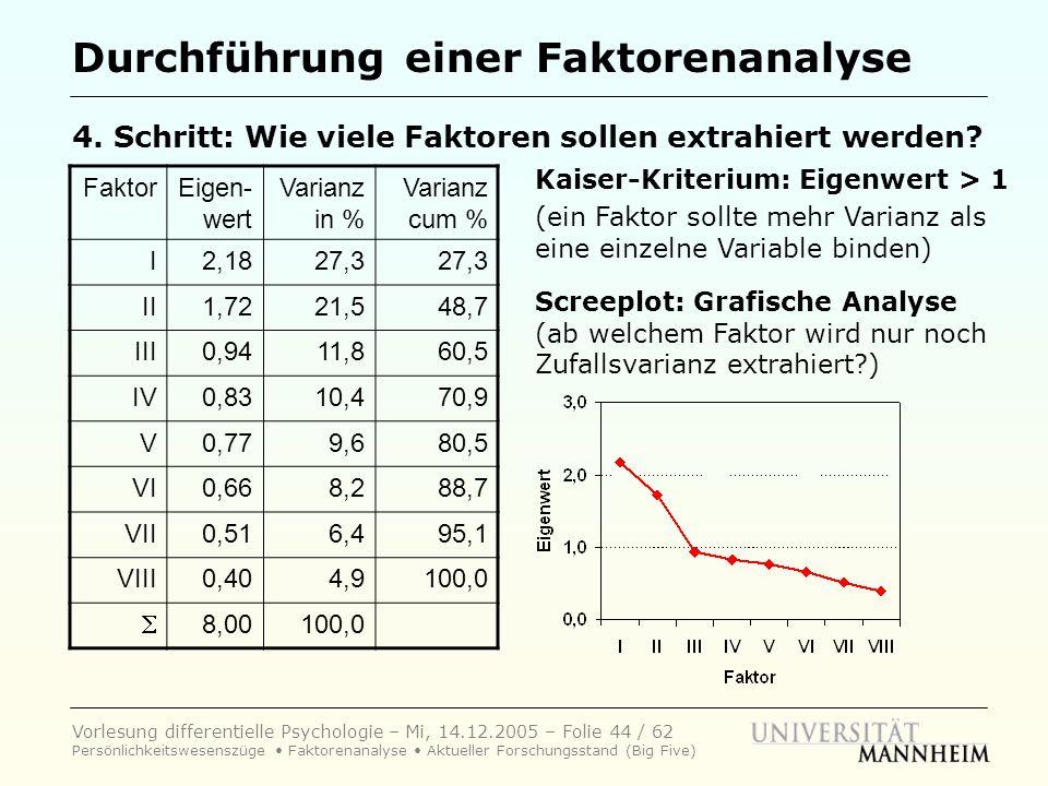 Vorlesung differentielle Psychologie – Mi, 14.12.2005 – Folie 44 / 62 Persönlichkeitswesenszüge Faktorenanalyse Aktueller Forschungsstand (Big Five) D