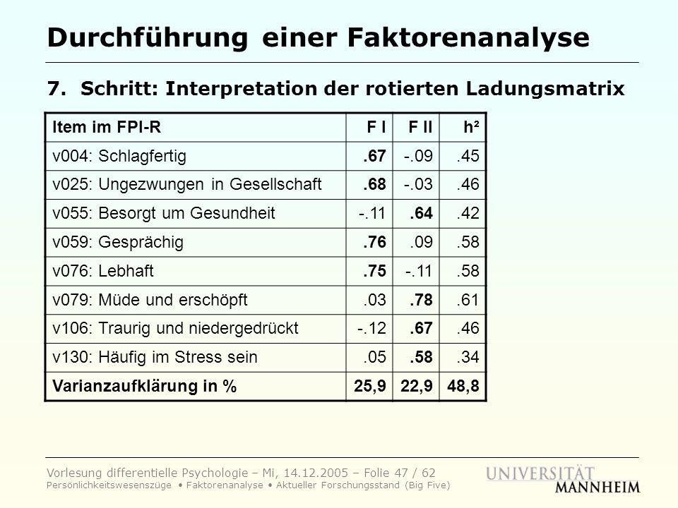 Vorlesung differentielle Psychologie – Mi, 14.12.2005 – Folie 47 / 62 Persönlichkeitswesenszüge Faktorenanalyse Aktueller Forschungsstand (Big Five) D