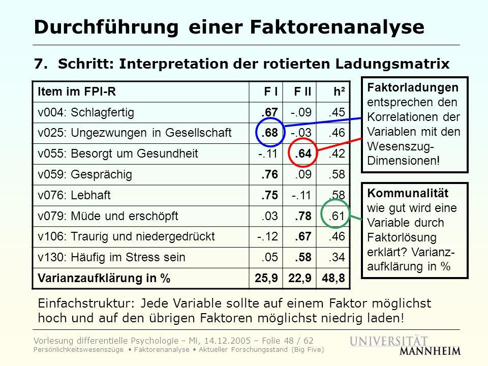 Vorlesung differentielle Psychologie – Mi, 14.12.2005 – Folie 48 / 62 Persönlichkeitswesenszüge Faktorenanalyse Aktueller Forschungsstand (Big Five) D