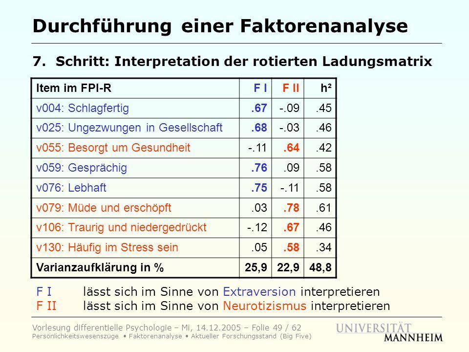 Vorlesung differentielle Psychologie – Mi, 14.12.2005 – Folie 49 / 62 Persönlichkeitswesenszüge Faktorenanalyse Aktueller Forschungsstand (Big Five) D