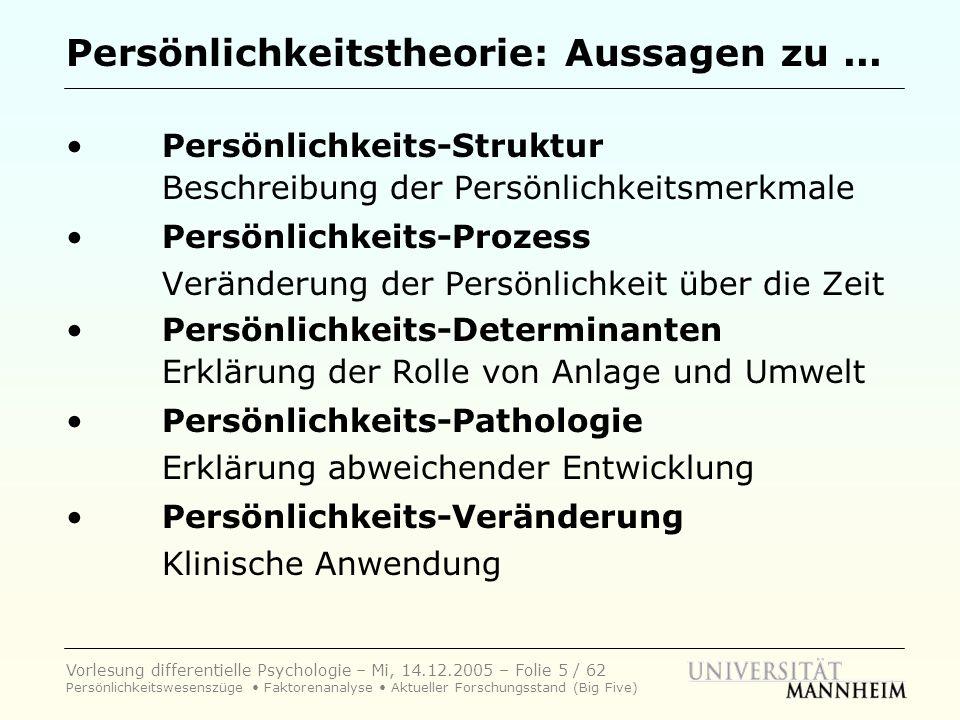 Vorlesung differentielle Psychologie – Mi, 14.12.2005 – Folie 6 / 62 Persönlichkeitswesenszüge Faktorenanalyse Aktueller Forschungsstand (Big Five) Persönlichkeitstheorie: Große Fragen...