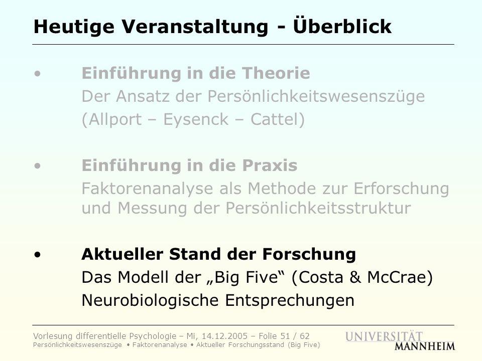 Vorlesung differentielle Psychologie – Mi, 14.12.2005 – Folie 51 / 62 Persönlichkeitswesenszüge Faktorenanalyse Aktueller Forschungsstand (Big Five) H