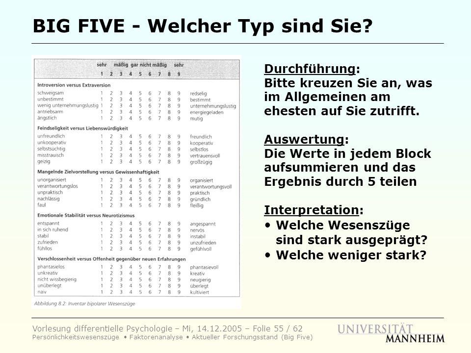 Vorlesung differentielle Psychologie – Mi, 14.12.2005 – Folie 55 / 62 Persönlichkeitswesenszüge Faktorenanalyse Aktueller Forschungsstand (Big Five) B
